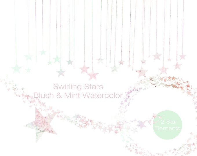 PASTEL RAINBOW Watercolor STAR Clipart Commercial Use Clipart Stars Graphics Mint Peach Pink Star Border Frame Banner Garland Baby Clipart