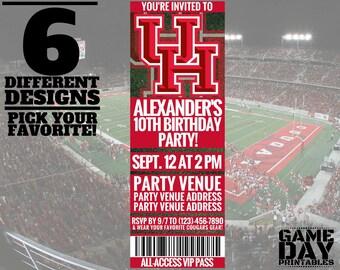 Houston Cougars Invitation - University of Houston Invitation - Printable