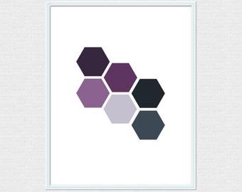 Geometric Hexagon Purple Minimalist Digital Art Print 8x10 Instant Download