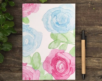 Eco Friendly A5 NoteBook- Painted Roses Stationery Recycled Paper Lined Writing Watercolour Notebook Minimalist Roses A5 Lines