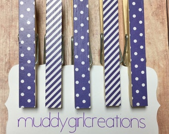 Decorative Clothespin Magnets - Set of 5 - Dark Purple and White Striped & Polka Dot - Refrigerator Magnets, Photo Clips, Stocking Stuffer