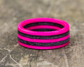 Pink and Gray Wood Ring - SpectraPly Wedding Band Mens Womens Engagement Anniversary Couples Girls  Striped Grey Custom Sizes