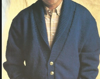 knit mens comfy classic sweater buttoned  front jumper tunic  long sleeves cardigan collared vintage pattern instant download pdf