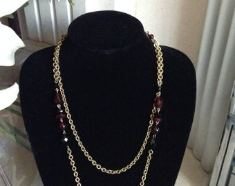 MASSIVE REDUCTIONS 1930s gold toned Art Deco Flapper Necklace with red and black glass beads