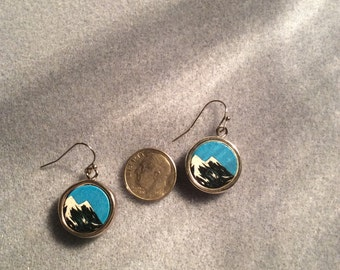 Mountain Earrings with Silver border