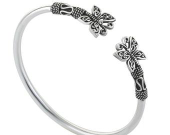 Butterflies Bracelet, Cuff Silver Bracelet, Women Silver Bracelet, Viking Bracelet, Butterfly Jewelry, Adjustable Silver Bracelet