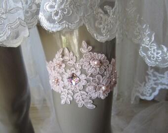 Pink lace wedding garter, bridal garters, pink garters, accessories