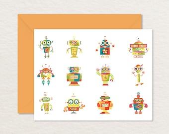 Printable Note Card / Robots Greeting Card / Robots A2 Card / Thank You Card / Printable Robot Stationery