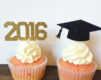 2016 Graduation Cupcake Toppers (Set of 12)
