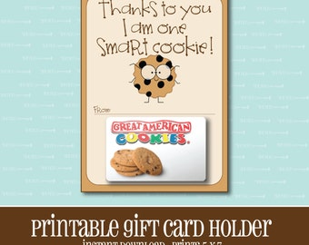 INSTANT DOWNLOAD,Smart Cookie Gift card Holder,Teacher,Gift Card Holder,Teacher Gift,Printable,Printable Gift Card,Teacher Appreciation