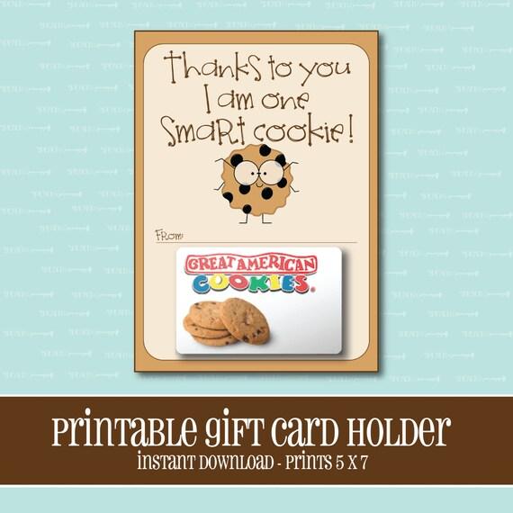 instant downloadsmart cookie gift card holderteachergift. Black Bedroom Furniture Sets. Home Design Ideas