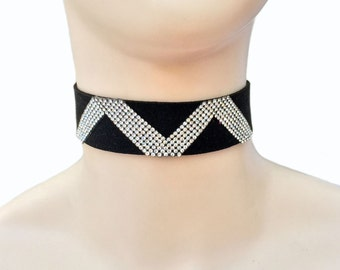 Choker - 'M or W' - Black Suede with Crystal Embellishment