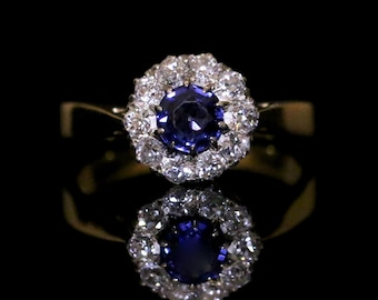 Antique Sapphire & Diamond Cluster Ring