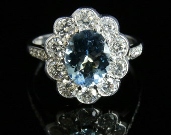 Aquamarine & Diamond Cluster Ring- 18ct White Gold