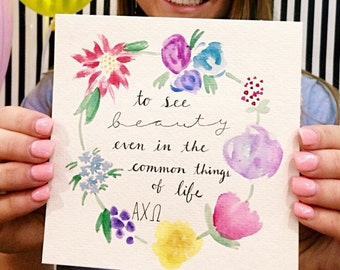 Alpha Chi Omega Flower Watercolor Print