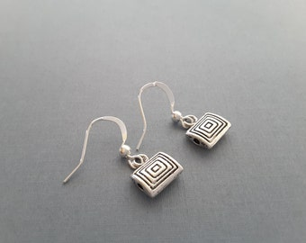 Petite Silver Rectangles . Earrings