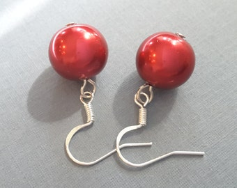 Cherry Red Glass Pearls . Earrings