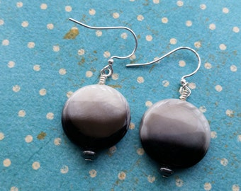Gray Ombre Discs. Earrings.