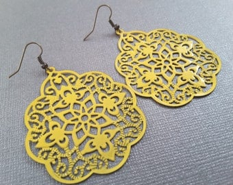 Yellow Filagree Earrings