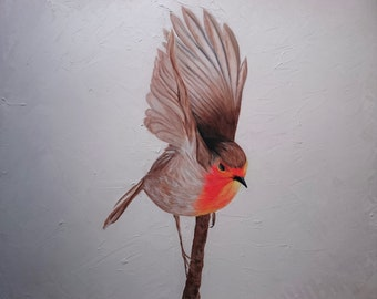 Robin taking flight on branch oil painting