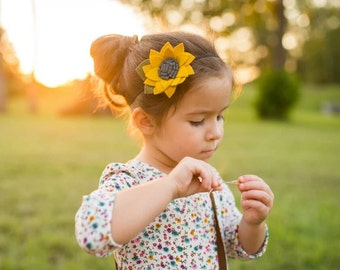 Sunflower - Felt Sunflower Headband - Felt Floral Headband - Sunflower Hair Clip - Spring Sunflower - Summer Sunflower - Felt Sunflower