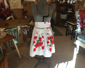 Adult Size Apron Skirt made from Vintage Table Linen
