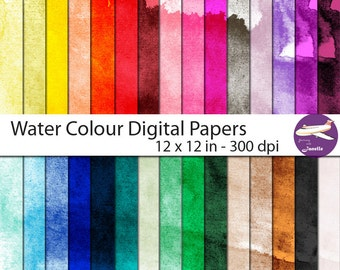 Water Colour 12 x 12 in Digital Papers 300 dpi in 30 Colours for Scrapbooking, Card Making, Paper Crafts and More