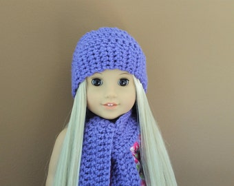 American Girl Doll Accessories American Girl Hat Scarf 18 inch doll accessories 18 inch doll clothes Purple Crochet Set Scarf and Hat