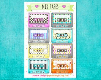 Cassette Tapes Mix Planner Stickers Blank Labels