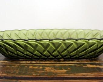 Vintage olive green glass pretzel pattern oblong dish, relish celery nut serving dish, scalloped edges, braided