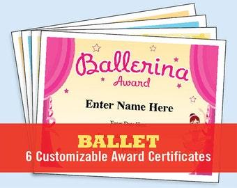 Ballet Certificate Pack, Dancing Awards, Dance Team Printables, child certificates, ballet templates, ballet certificates, ballet mom