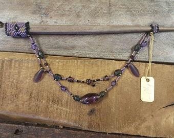 Purple and Black Beaded Hairstick