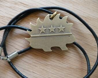 Brass Libertarian Porcupine Pendant