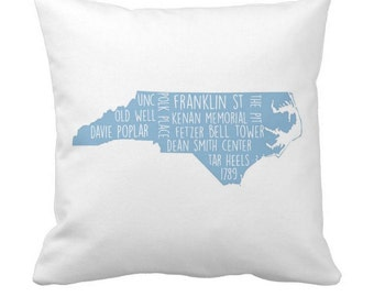 Personalized UNC Throw Pillow - Choose Your Landmarks - Personalize It Any Way - 16x16 Perfect Gifts For Students and Dorms