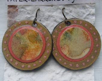 orange*gold*pink*paper earrings