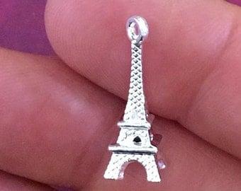 Eiffel Tower Charm. 5pcs Antique Silver Tone 3D Pairs Eiffel Tower Charm 22x8mm. Building Pendant. Paris Charm. Eiffel Tower - ( 5 - 0022J)