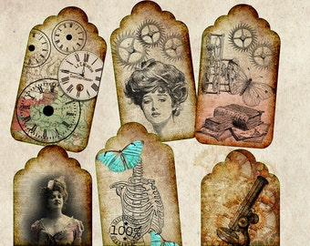 Steampunk Vintage Tags Digital Download Printables
