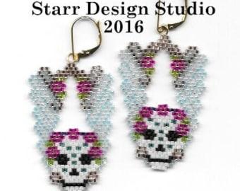 The Sugar Skull Statement - Brick Stitch Beaded Earring Pattern