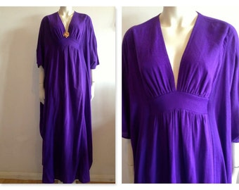 Fab Rare Maillots arabel 70's Deep purple cotton kaftan style Maxi Dress hippe/folk/psych