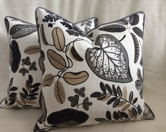 Leaf Pattern Designer Pillow Cover Set - Gray/Tan/White