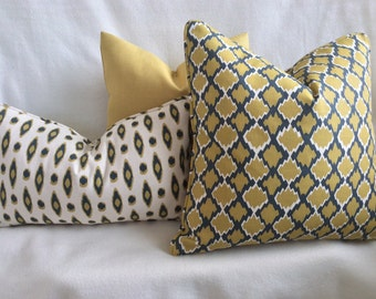 Modern Moroccan Style Designer Pillow Cover Set - Mustard Gold/ Smokey Blue-Gray
