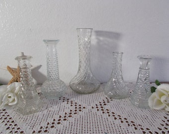 Vintage Clear Glass Vase Set of 5 Collection Victorian Mid Century Country Farmhouse Beach Cottage Summer Fall Flower Wedding Home Decor