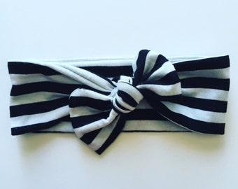 Baby top knot headband - black/white stripe