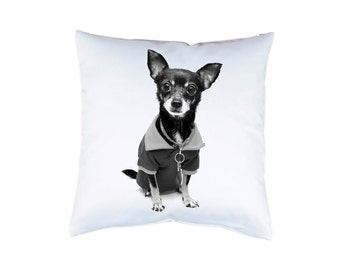 """chihuahua Pillow 16"""" dog cushion cover pillow case with animal print on both sides optional with filling"""
