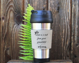 Travel mug, Leather Travel Mug, Leather Coffee Mug, Personalized Travel Mug, Personalize Coffee Mug,Coffee Mug,Gift for grandma, New Grandma