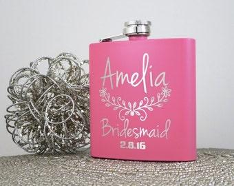 Personalized Flasks, Bridesmaid Gift, Hip flask, Personalized Bridesmaid Gift, Pink Stainless Steel Flasks, Wedding Party Flasks, Flasks.