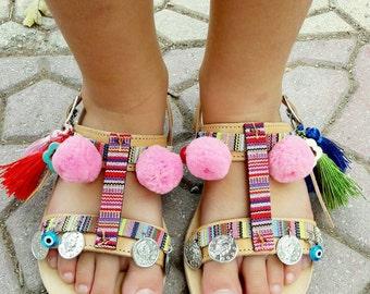 CALLIOPE!!!pompom sandals,boho sandals,baby sandals,kids sandals,handmade sandals,girls sandals