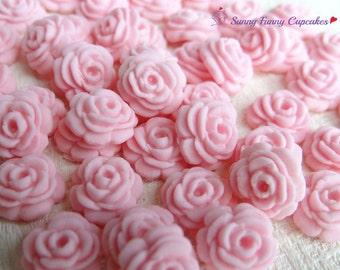 24 Pink sugar roses edible cupcake decorations cake toppers cake sprinkles