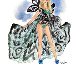 Victoria's Secret Runway Fashion Show illustration print featuring supermodel Gigi Hadid