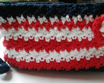 Red White and Blue Wristlet, Crochet Wristlet, Patriotic Wristlet, Summer Wristlet, Independence Day Wristlet, Ready to Ship